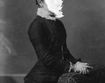 Creepy victorian portrait | lady without face | double exposure | oddities art | Victorian portrait | Instant Download | Digital Wall Art