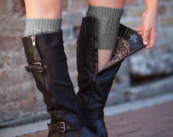 Knit Boot Cuffs Charcoal by Modern Boho