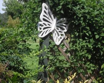White Wood Butterfly Yard Art