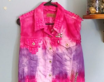 Pink & Purple Tie-Dye Studded Punk Vest