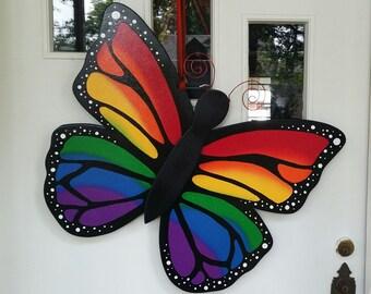 Giant Rainbow Butterfly 3D door hang