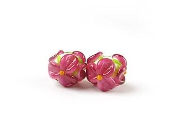 Lampwork Beads, Earring Pair,  Handmade Glass Beads, Murano Beads, Lampwork Bead Set,  Flower Beads, Floral Glass Beads, White, Bright Pink