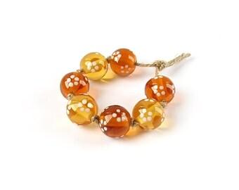 Lampwork Beads, Lampwork Bead Set, Glass Lampwork Bead Set, Handmade Glass Beads, Polka Dot Beads, Brown, White