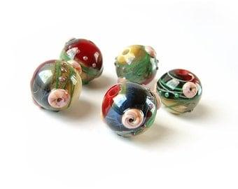 Lampwork  Beads, Glass Lampwork Beads Set, Handmade Glass Beads, Organic Bead, Organic Style, Red, Grey