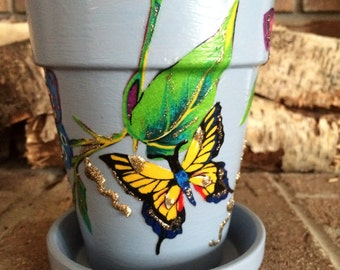 Blue Butterfly Glitter Embellished Indoor Planter Clay Pot Painted Butterflies Home Decor ~ Decoration for any space! Housewarming