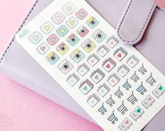TV stickers, shopping, books, social media stickers - planner sampler sheet