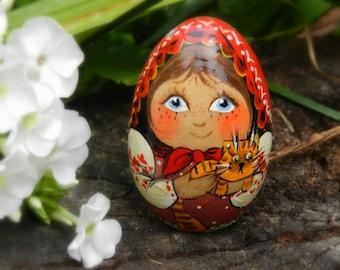 babushka, wooden painted doll, wooden egg,handmade doll, Russian doll