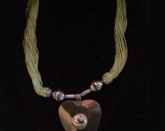 Moroccan acid green Sabra necklace