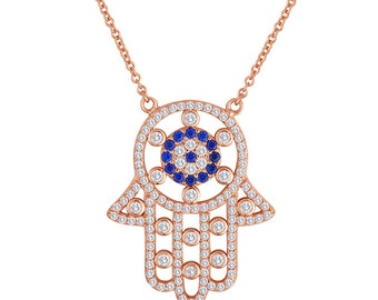 Hamsa Pendant In 14K Rose Gold Rhodium Plated Sterling Silver