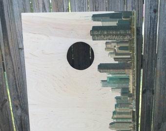 Custom Chicago, Illinois Skyline Cornhole Boards - Cityscape Design - Handmade Wood Print