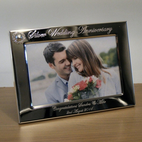 Engraved Silver Wedding Photo Frame With Diamante Crystals : Personalised Engraved Photo Frame 25th Silver Wedding Anniversary Gift ...