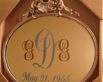 Monogrammed Mirror with Wedding date