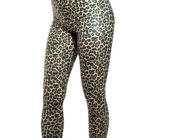 High waisted spandex leggings - leopard print