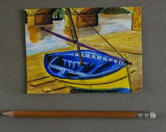 Boat Dock - Watercolour