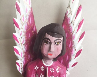 Carved Angel by Oaxacan Artist Efrain Fuentes, Signed