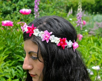 Flower Crown, Flower Headband, Floral Crown, Floral Headband, Coachella, Music Festival, Rave Accessory -Pink and Magenta Roses