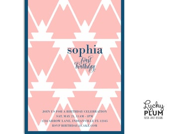 Boho Arrow Birthday Invitation / Feather Indian Aztec Tribal Invite / First Birthday Invite / Modern Black Pink Invite / *Digital file*