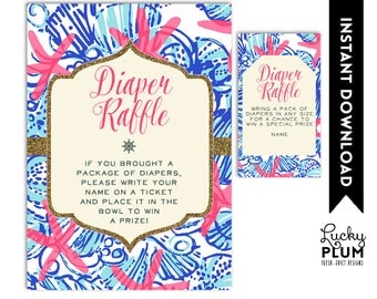 Lilly Baby Shower Diaper Raffle / Nautical Diaper Raffle / Starfish Diaper Raffle / DIY Printable /  *Digital file*