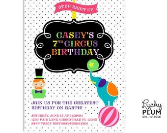 Circus Baby Shower Invite / Modern Circus Birthday Invite / Coed Couple Shower Invite / Elephant Invite / Fair Carnival Invite / Digital