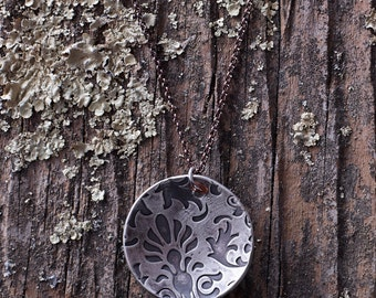 Fine Silver Metal Clay Pendant - Round/Dome Jacquard - NS102