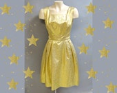 Glam GOLD LAME Vintage Late 1950's, Early 1960's Brocade, Cocktail Party Dress, size 2/3