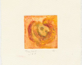 Tiny collagraph 2015 series #8 warm pinky orange and violet with traces of green affordable original abstract art