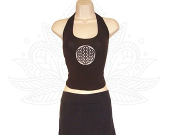 Flower of Life Halter - Crop top made from organic cotton and bamboo jersey