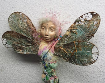 Dragonfly Fetish, Nature Spirit, Polymer clay,  Art doll,  Figurative Sculpture, Mix Media, Tree topper, wedding present, bridal shower