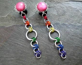 Dangle Plugs - 00g 10mm - Rainbow Gauges - Rainbow Jewelry