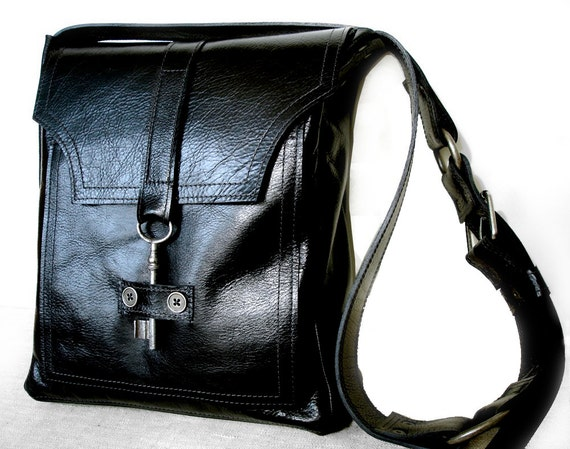 Black Leather Messenger with Antique Key - Unisex Deluxe Steampunk Bag  - MADE TO ORDER