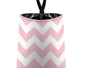 Car Trash Bag // Auto Trash Bag // Car Accessories // Car Litter Bag // Car Garbage Bag - Chevron - Baby Pink and White