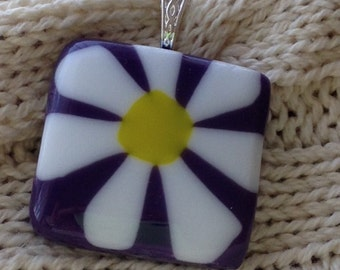 daisy image in fused glass pendant necklace on purple
