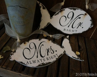 Wedding Chair Hangers, Mr Right and MRS ALWAYS RIGHT Signs, Beach Wedding Signs, Fish Chair Hangers