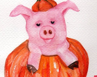 Pig, pumpkin watercolor painting original, pig watercolor painting, Halloween decor, whimsical pig art,  watercolor painting pig in pumpkin