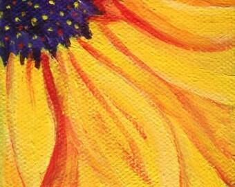Original Sunflower acrylic painting, mini easel, small sunflower on Canvas 3 x 3 , sunflower art, sunflower decor, mini canvas art