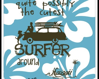 CUTEST SURFER AROUND iron-on silkscreen applique 100% cotton made in Hawaii EcoFriendly Teal or Blue