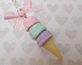 Kawaii Pastel Triple Scoop Ice Cream, Miniature Food Jewelry Necklace, Polymer Clay Food
