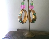 Gold Hoops, Pink, Green, Textile, Crystal, Glass, Rhinestones, Dangle Earrings, Boho, Gypsy, Hot Pink
