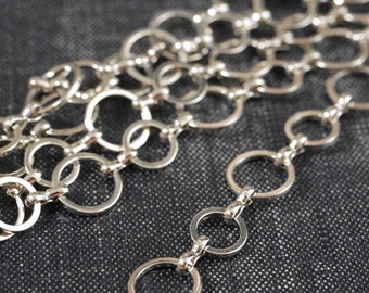 DESTASH - 10mm 8mm Circle Link Chain - Rhodium Plated - 66inches