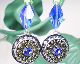 Blue & Green Rhinestone Statement Earrings Peridot Sapphire Rhinestone Drop Earrings