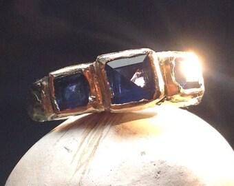 Rustic gold ring sapphire ring three stone ring - Byzantine