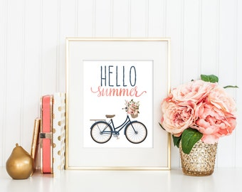 Hello Summer Print / Floral Bicycle Print / Bicycle Wall Art / Bicycle Art / Pink Blush and Navy /Summer Printable  Instant Digital Download