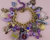 Purple, Gold and Silver Charm Bracelet - Chunky, Kitsch, Retro, Cute, Loaded, Vintage Style, Cottage Granny Chic,