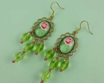 Green and Pink Rose Chandelier Earrings with Dangly Green Glass Faceted Beads - old fashioned, vintage style, granny cottage chic, flowers