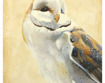 Existing As But A Ghost In The Autumnal Haze Of Burning Leaves 24 x 18 Art Print - Barn Owl - Bird - Nature - Giclee - Gift - Snowy