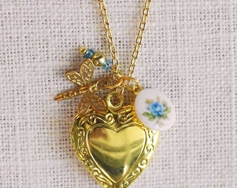CLEARANCE . sky blue dragonfly . gold heart locket charm necklace (bits and pieces sale)