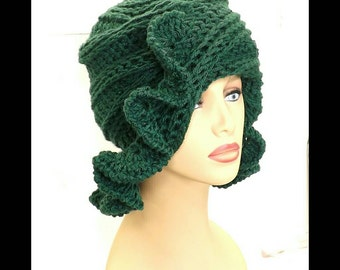 Forest Green Crochet Hat Womens Hat, Ruffle Crochet Beanie Hat, Forest Green Hat, Crochet Winter Hat, CYNTHIA Beanie Hat for Women