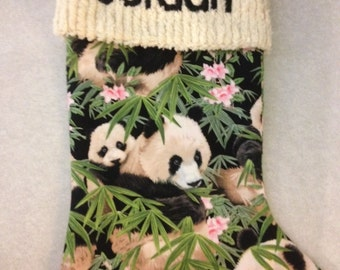 Sweet Panda Bears and Chenille Handmade Christmas Stocking with FREE US  SHIPPING