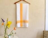 "Vintage Cotton Tablecloth Crisp White w/ Simple Orange Stripe 52"" Square"