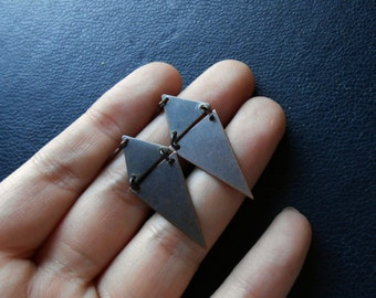 as above, so below ii  - antique copper triangle diamond earrings - edgy occult inspired jewelry